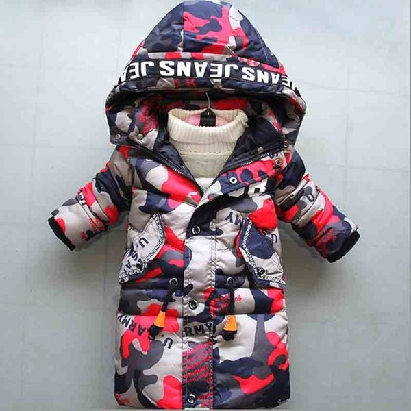 good quality 2019 winter new boy down cotton outerwear kids hooded camouflage long thick warm parkas jacket fit for 3-8 Y boy