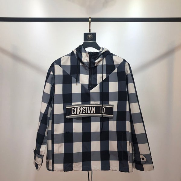 TS Ekose Ceket Lüks Sokak Moda Sıcak Satış Erkek Tasarımcı Bayan Çiftler Yüksek Kalite Kapşonlu Kazak Siyah Mavi Kırmızı TSYSWY160