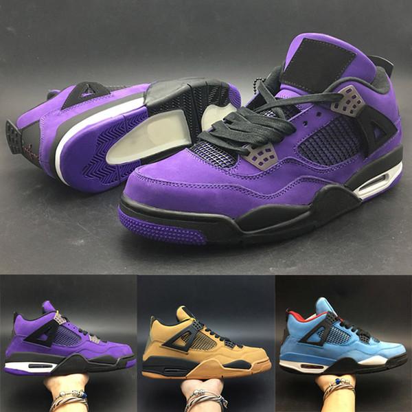 Meilleure vente 4s chaussures de basket-ball Jumpman IV TS Designer baskets haute qualité chaussures de mode violet bleu blé formateurs occasionnels chaussures de sport