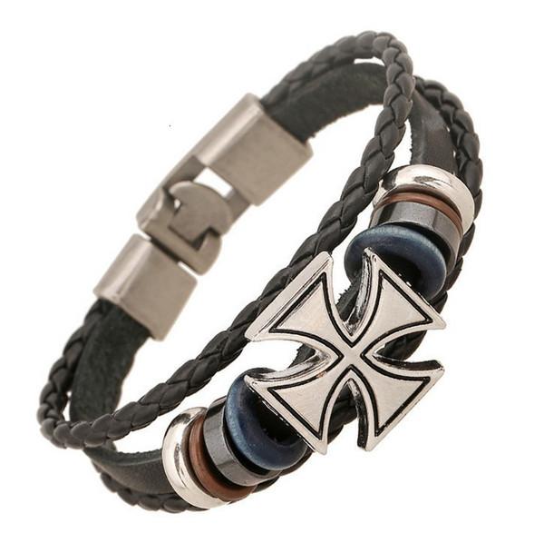 Cross Fashion Mens Bracelets Alloy Charm Korean Designer Fashion Statement Bracelet Jewelry Party Designer Leather Bracelets For Unisex