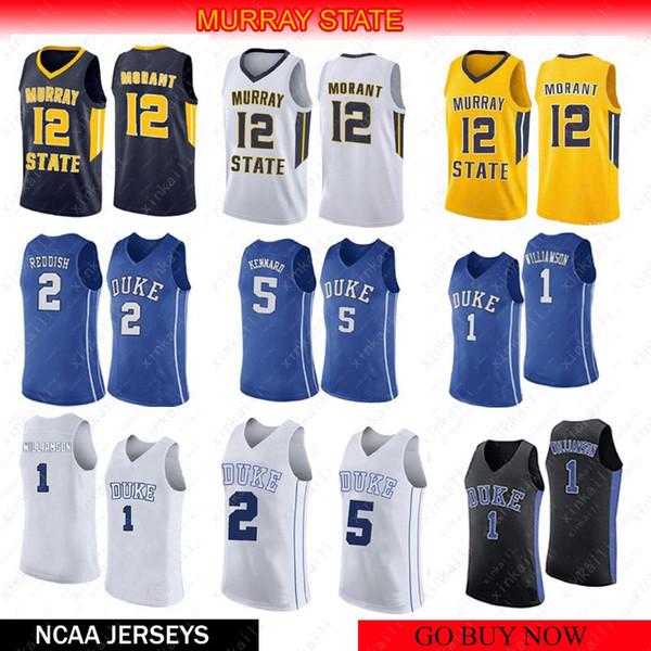 Man College Basketball Trikots Trägt 12 Ja Morant 1 Zion Williamson 2 Cam Rötlich 5 RJ Barrett NCAA MURRAY STATE Stickerei Nähen