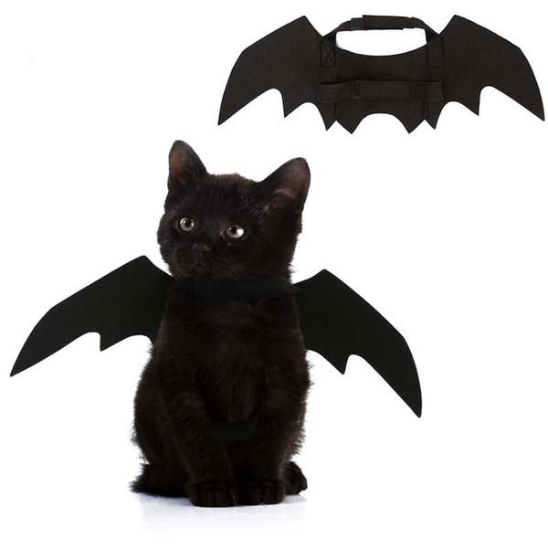 A estrenar disfraz de halloween para mascota alas de murciélago negro cachorro fresco gato murciélagos negros disfrazarse mascota decoración de vacaciones al por mayor