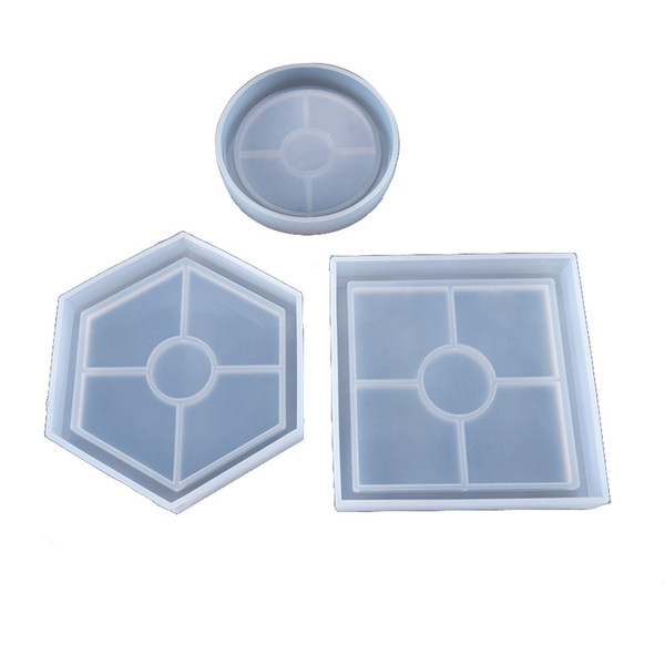 best selling Silicone Resin Mold Round Hexagonal Square Resin Silicone Moulds DIY Coaster Epoxy Resin Cabochons Craft Tools