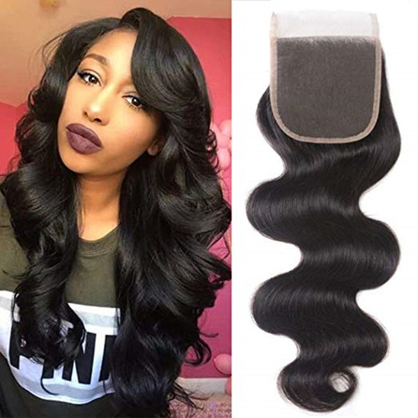 Virgin brasiliano peruviano indiano capelli 4X4 chiusura del merletto Lordo onda del corpo dei capelli umani chiusure superiori estensioni dei capelli gratis