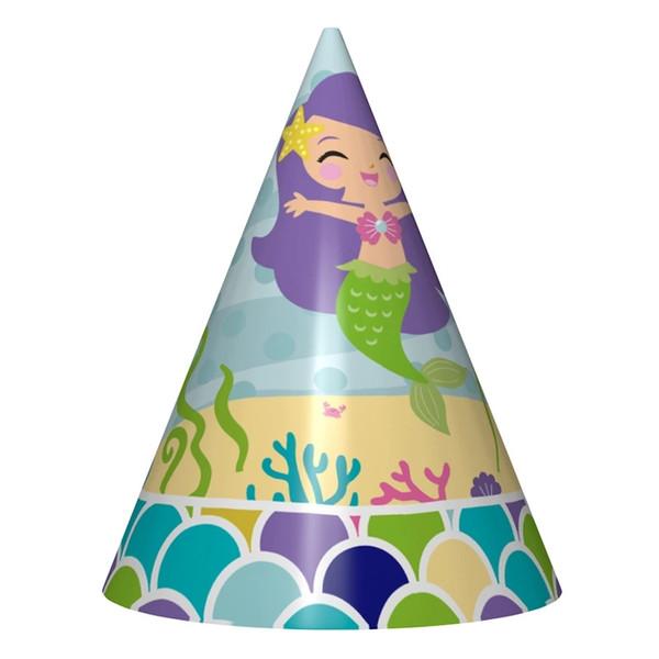 6 unids / set Nueva Cartoon Little Mermaid Theme Party Sombreros Para Niños Fiesta de Cumpleaños Feliz Decoraciones Niños Gorras Suministros