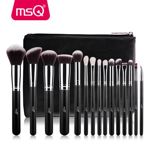 MSQ Pro 15 pcs Conjunto de Pincéis de Maquiagem Fundação Sombra de Maquiagem Pincéis Cosméticos Cabelo Sintético Macio Com Estojo de Couro PU