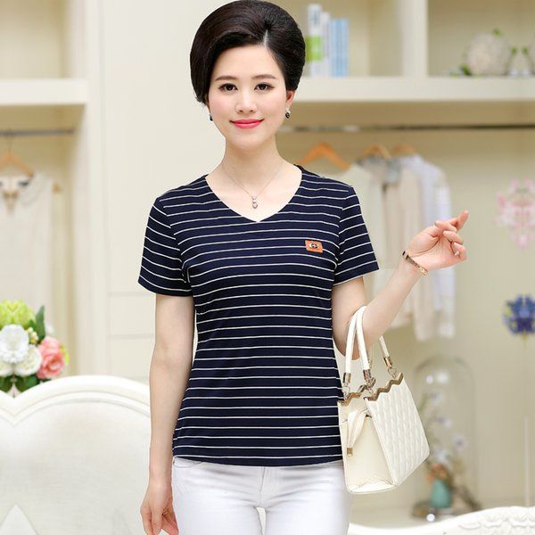 new middle-aged women Loose short-sleeved Striped V-Neck basic T-shirt female mother Lady summer pullover shirts tops clothing