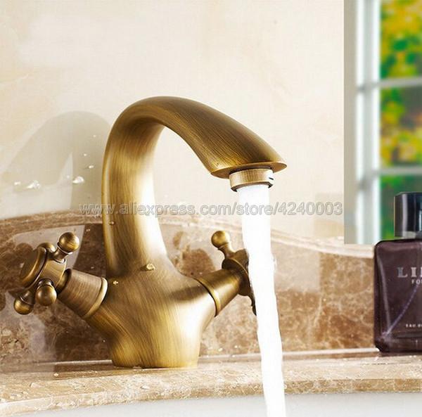 Ванной кран бассейна античная бронза покрытие латунь раковина смеситель двойной ручкой сосуд Раковина Водопроводной воды Смеситель Knf026