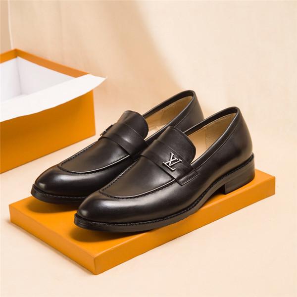 Hot Saint Germain Loafer Hombres Diseñador de lujo Mocasines de noche Zapatos de vestido de novia 1A32VW Negro Marrón de cuero