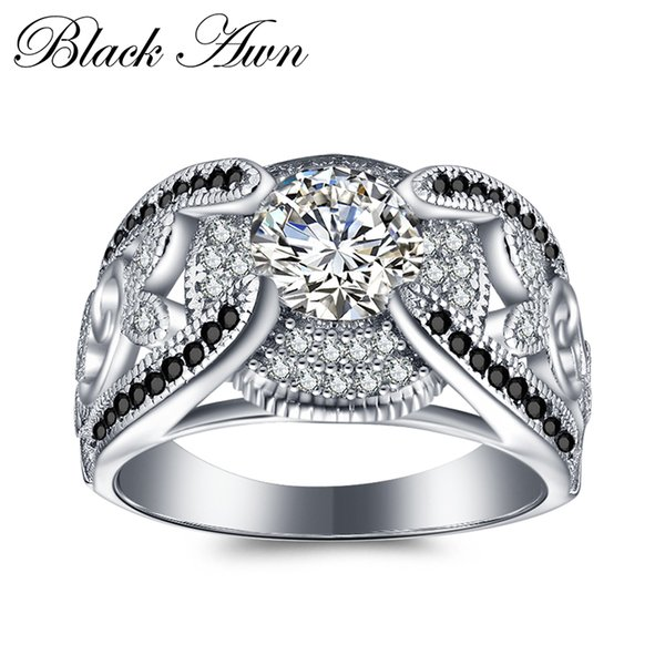 [black Awn] 5.4gram Genuine 925 Sterling Silver Jewelry Rings For Women Black&white Stone Femme Bague C321 Y19061003