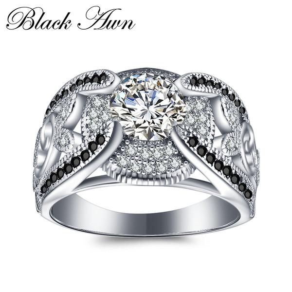 [black Awn] 5,4 gramm Echtes 925 Sterling Silber Schmuck Ringe Für Frauen Blackwhite Stein Femme Bague C321 Y19061003