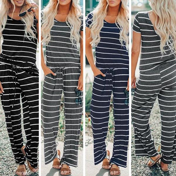 2019 neue beiläufige frauen striped overalls strampler kurzarm string frauen kleidung trendy hosen freies dhl china großhändler