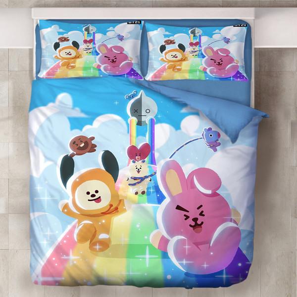 Cute Cartoon Bedding Set Duvet Covers Set Pillowcases Twin Full Queen King Comforter Bedding Sets Bedclothes Bed Linen Bed