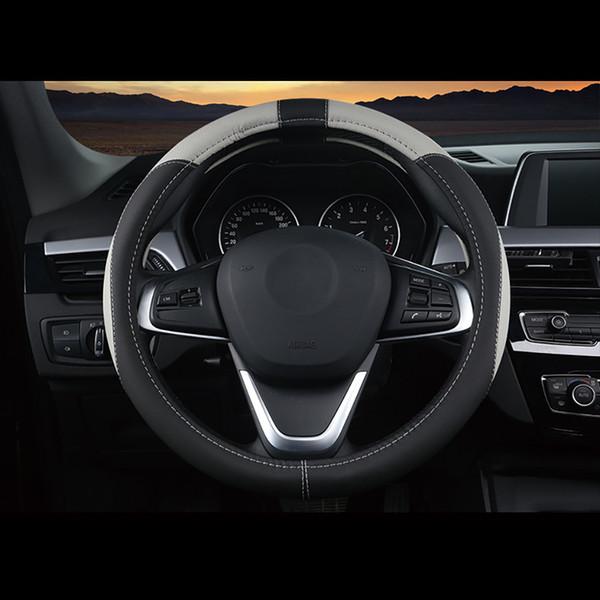 Revêtement de volant de voiture universel en cuir de style voiture Couvre 37CM-38CM Sport Auto volant respirant antidérapant