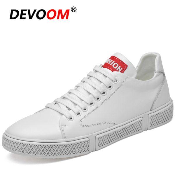 New Trend Натуральная Кожа Белые Туфли Мужская Мода Soulier Homme Дыхание Черные Кроссовки Мужчины Кроссовки Элегантная Обувь Мужской Размер 37-47