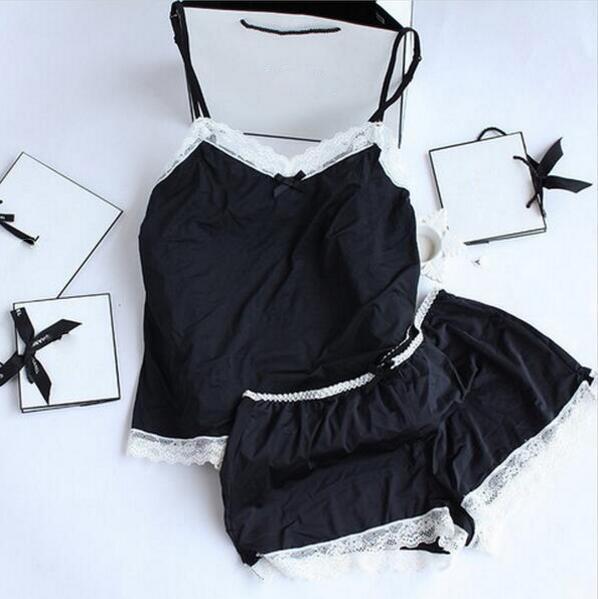 Wholesale Women Pajamas Sexy Lace Silk Pyjamas Set Lingerie Clothes For Women Black Straps Pajamas Ladies Bathrobe Sleepwear pajamas Suit