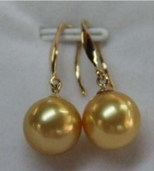 Jewelryr жемчужной сережкой 9-10 мм Южного Моря золотой жемчуг серьги Бесплатная доставка