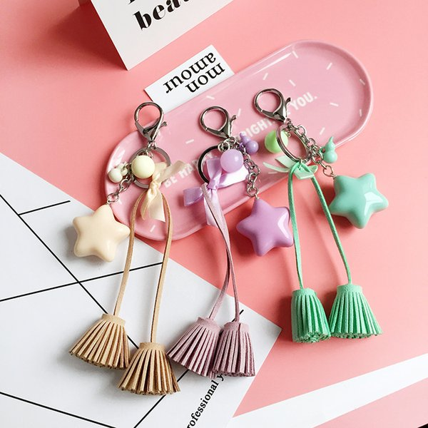 New five-pointed star jelly color double head tassel keychain handbags hanging mobile phone car key pendant