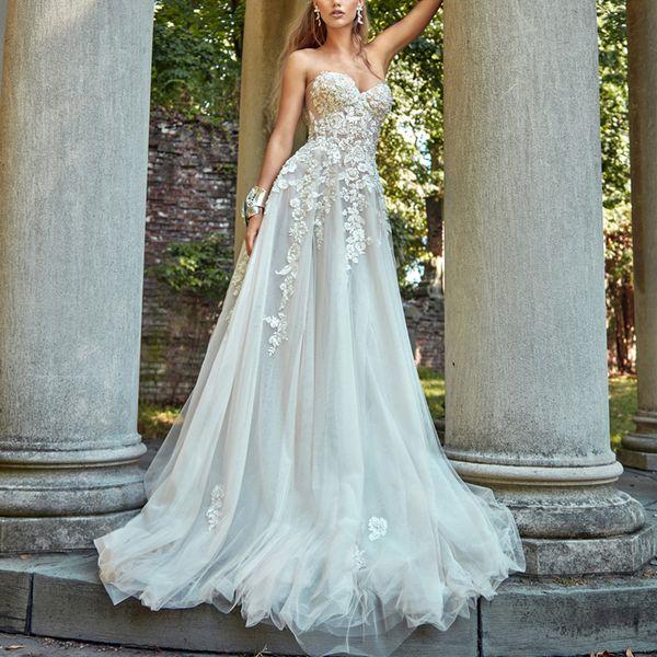 Discount 3d Flower Lace Tulle Wedding Dresses Vestido De Novia Strapless Sweetheart Neckline Sleeveless Bohemian Wedding Dress Bridal Gowns Lace