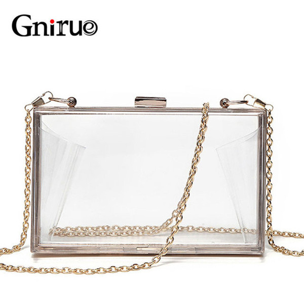 Acrylic Transparent Clutch Chain Box Women Shoulder Bags Hard Day Clutches Bags Wedding Party Evening Purse 5 Colors J190630