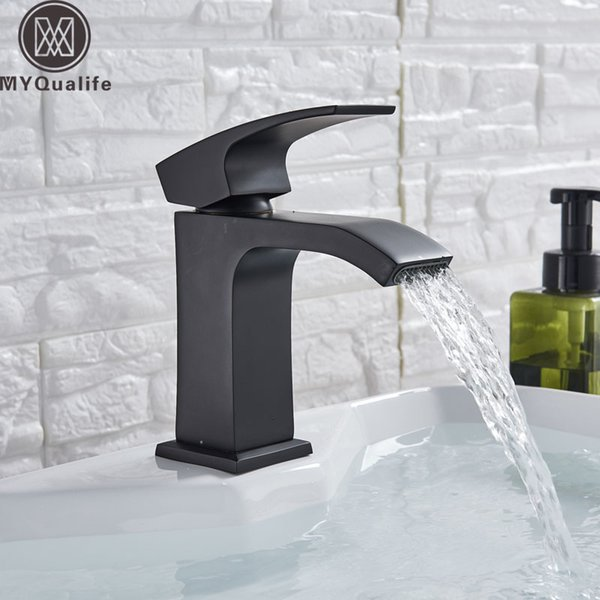modern black bathroom basin faucet single lever wide waterfall spout cold mixer tap deck mounted washing vanity sink tap