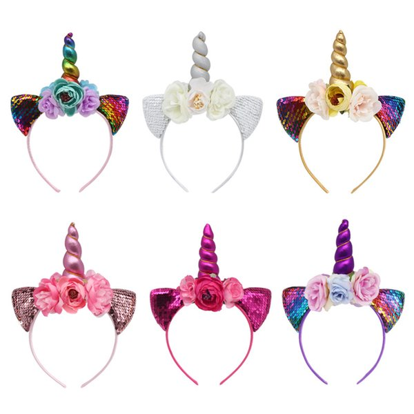 Magical Unicorn Horn Floral Headband Fashion Sequined Ear Kid Party Hair Accessories Girl Glitter Flower Hair Hoop TTA1247
