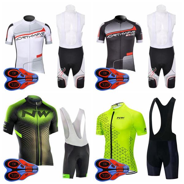 KUZEY DALGA ekibi Bisiklet Kısa Kollu jersey önlüğü şort setleri erkekler hızlı kuru kısa kollu önlüğü şort açık spor forması setleri S82819