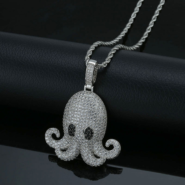 Hip Hop Octopus Necklace For Men Cartoon Charm Silver Plated Jewelry Bling Cubic Zirconia Ice Out Women Pendant Necklaces