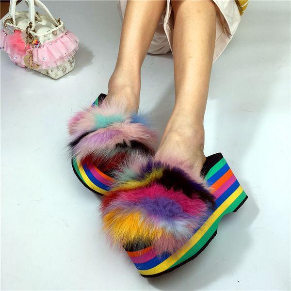 Cores do arco-íris das mulheres de pele decoração chinelo plataforma muffin super alta salto sapatos de cunha slingback novo a43