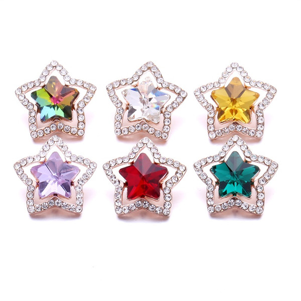 Noosa Big Five-pointed star Rhinestone 18mm Ginger Snap Jewelry Silver Plated Snap DIY Necklace Bracelet Accessory New Finding
