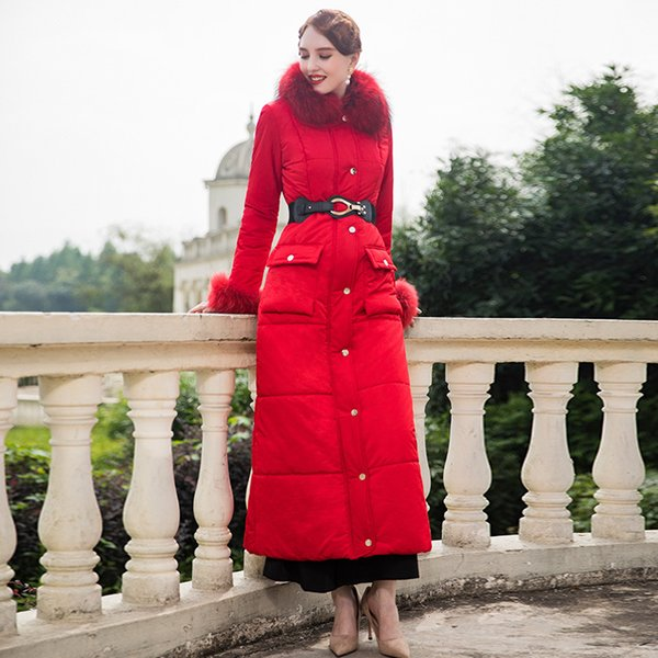 abito in cotone con temperamento modellante al ginocchio e spessa giacca in cotone con collo in lana e giacca da donna SS9049