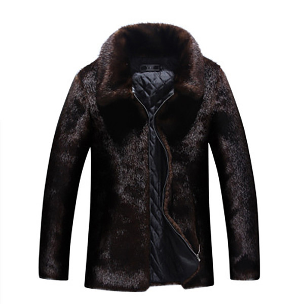 Imitation mink coat Men Faux Fur Coats hooded men's fur Long Sleeve Thicken Warm Winter Jackets Coats Male Fashion Zipper Outerwears