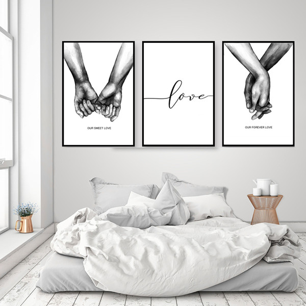 3pcs Nordic Warm Poster Black and White Holding Hands Canvas Prints Lover Quotes Wall Art Pictures for Living Room Abstract Minimalist Home