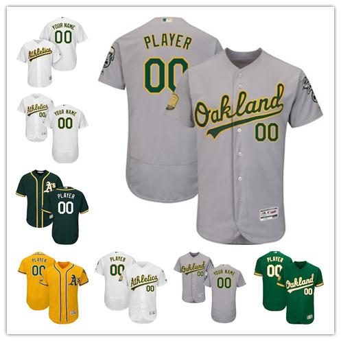 huge discount 18ae9 69409 2019 Men'S Oakland Athletics Majestic White 50th Anniversary Green Cool  White Home On Field Patch Flex Base Custom Jersey From Pc0005, $20.31 | ...