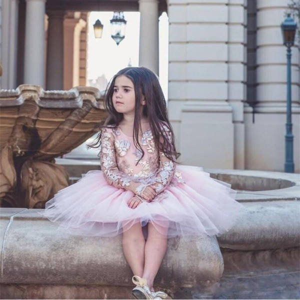 Sparkly Gold Lace Appliques Toddler Prom Dress for Wedding Jewel Neck Long Sleeve Kids Pageant Gowns Knee Length Tulle Party Communion Dress