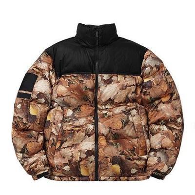 Nova jaqueta de inverno dos homens Para Baixo Deciduous folhas de Impressão Nuptse Casacos casal casaco de Inverno Outerwear Moda S ~ XL