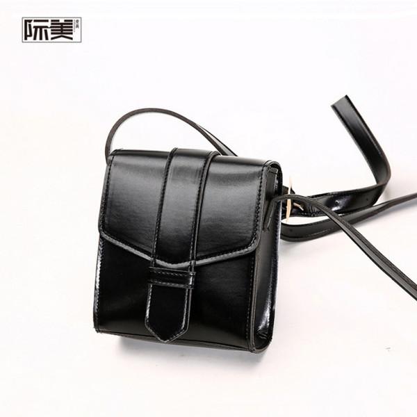 2019 spring and summer simple mobile phone cute shoulder slung vertical section wide shoulder strap mini bag