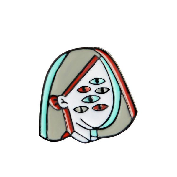 Mulheres Rosto Olhos Broches Mochila Pinos Emblemas Esmalte Duro Pin Botão Coleção Acessório de Moda Bonito Kawaii Presente Da Jóia Para Mulheres Homens