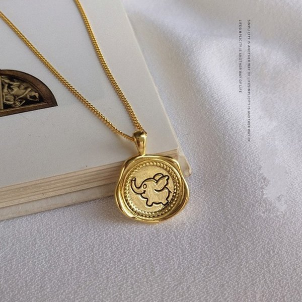 New s925 silver necklace for woman golden cartoon elephant pendant irregular round necklace 100% real 925 silver woman