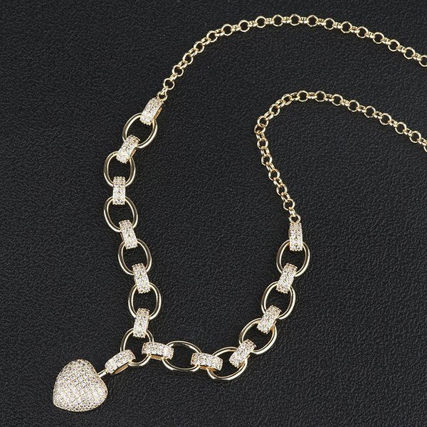 2019 new trend designer South American jewelry fashion heart-shaped micro-inlaid necklace creative full diamond love lock necklace