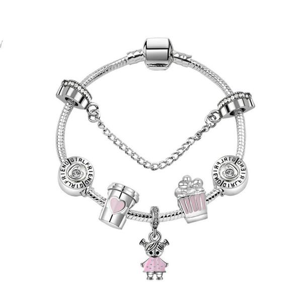 best selling 17-21CM Charm Beads Bracelets sweet cute girl Pendant 925 Silver Bracelet DIY Jewelry as a gift