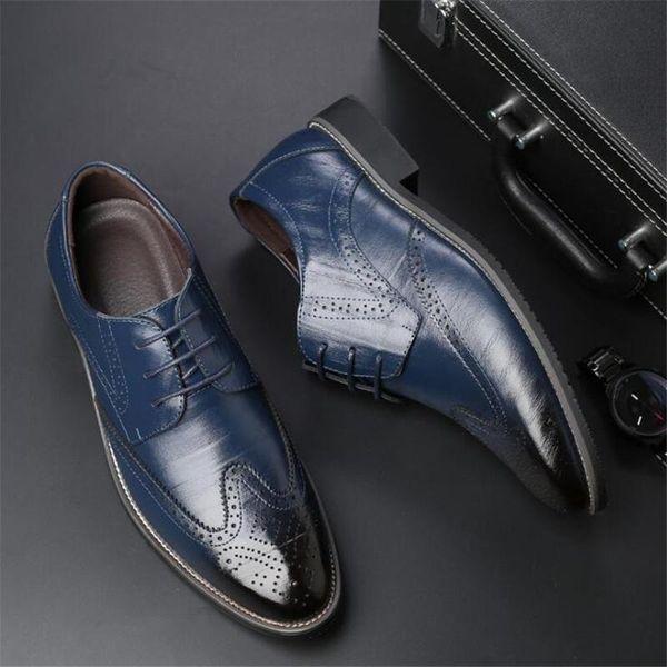 Mit Box Designer Luxus Lackleder schwarz italienische Herren Schuhe Marken Hochzeit formale Oxford Schuhe für Herren Spitzschuh Schuhe 38-48