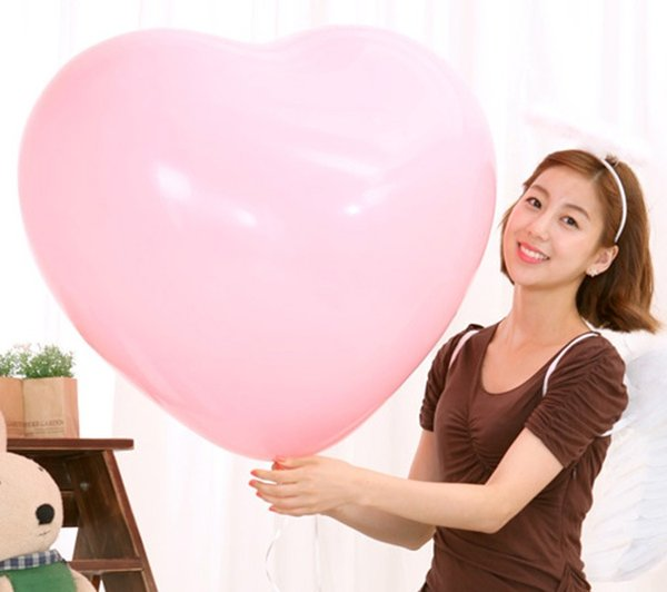 2019 New Colorful Blow Up 36 Inches Oversized Heart Love Balloon Helium Inflable Big Latex Balloons for Wedding Birthday Party Decorations
