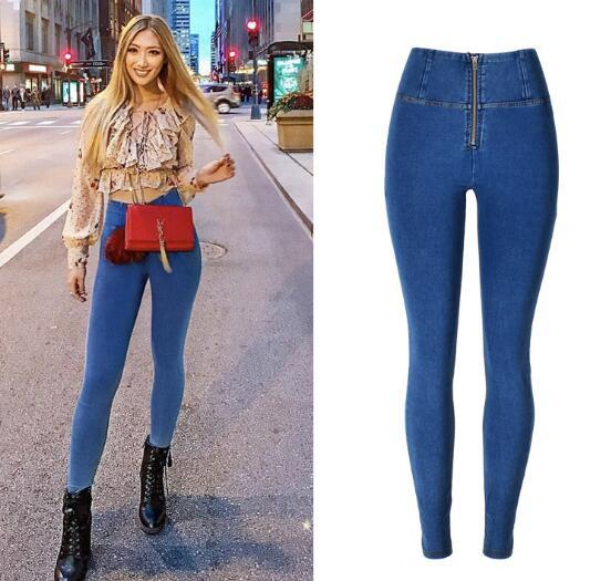 Die meistverkauften europäischen und amerikanischen Hosenfrauen mit hoher Taille und super Stretch-Denim-Version haben schöne Hüfthosen