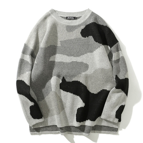 japan camo camouflage knitted pullover sweaters 2019 mens hip hop crewneck jumper sweater streetwear male casual  gray