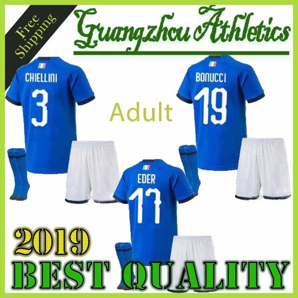Italie maillot de foot 2018 Adulte Kits + Chaussettes Maillot de foot CANDREVA CHIELLINI EL SHAARAWY BONUCCI INSIGNE