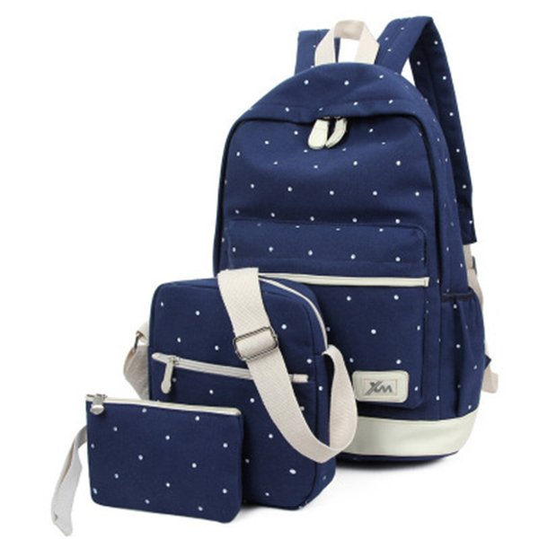 Nibesser 3pcs/set Dot Backpack High Quality Canvas School Book Bags For Girls Backpacks Mochila Gift Notbook Rucksacks Backbag Y19051502