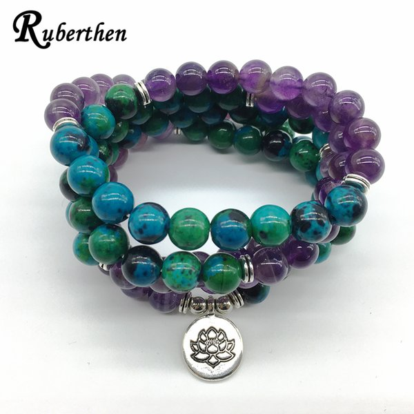 Ruberthen 2018 New Design Yoga Healing Bracelet Or Necklace Phoenix Ame-thyst Stone Meditative 108 Mala Yoga Jewelry MX190718 MX190718