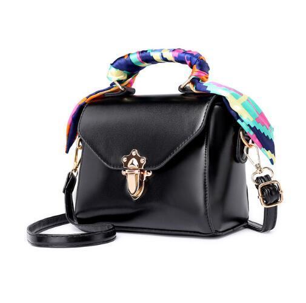 2019 Vintage Women's Crossbody Bag with Scarf Brown Sac A Main Ladies Shoulder Bag Small Lock Female Messenger Bag Bolso Mujer
