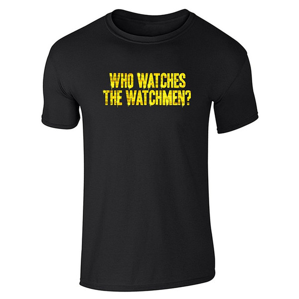 Printed T Shirt Pure Cotton Crew Neck Short Sleeve Office Who Watches The Watchmen ? Tee For Men